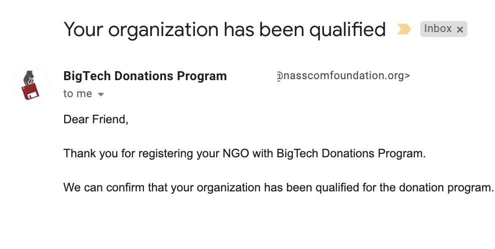 confirmation email from Nasscom qualifying Amarantos as a non-profit org